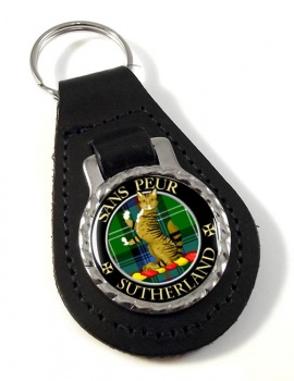 Sutherland Scottish Clan Leather Key Fob