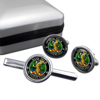 Sutherland Scottish Clan Round Cufflink and Tie Clip Set