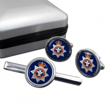 South Wales Police Round Cufflink and Tie Clip Set