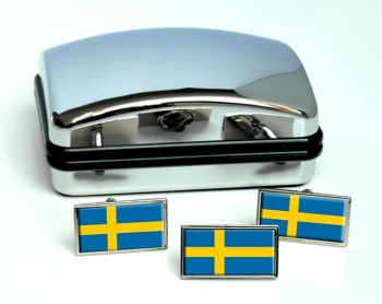 Sweden Sverige Flag Cufflink and Tie Pin Set