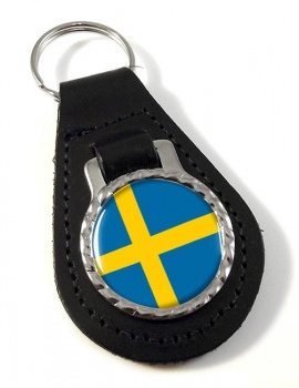 Sweden Sverige Leather Key Fob