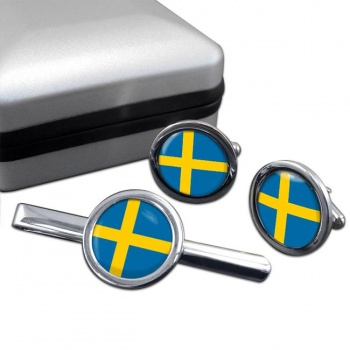 Sweden Sverige Round Cufflink and Tie Clip Set