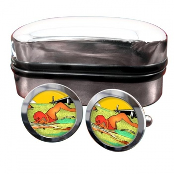 Sea Swimming Round Cufflinks