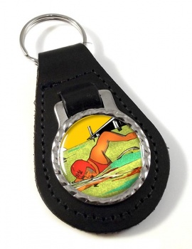 Sea Swimming Leather Key Fob