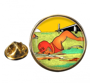 Sea Swimming Round Pin Badge