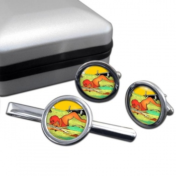 Sea Swimming Round Cufflink and Tie Clip Set