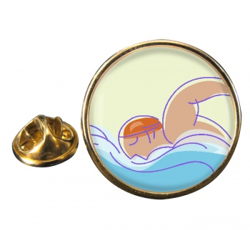 Swimming Round Pin Badge