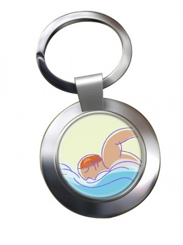 Swimming Chrome Key Ring