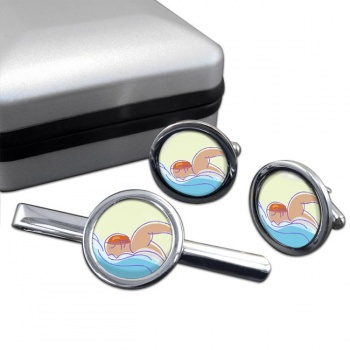 Swimming Round Cufflink and Tie Clip Set