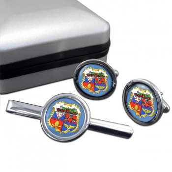 Swindon (England) Round Cufflink and Tie Clip Set