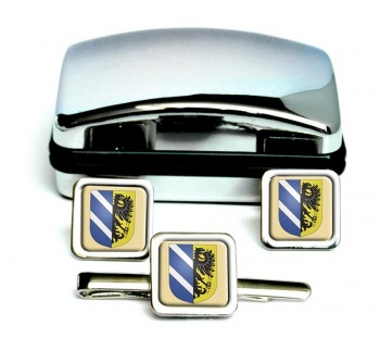 Szeged Square Cufflink and Tie Clip Set