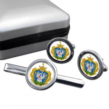 Szolnok Round Cufflink and Tie Clip Set