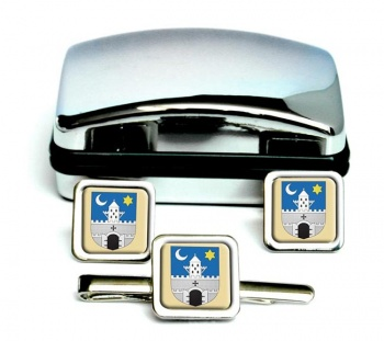 Szombathely Square Cufflink and Tie Clip Set