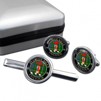 Tailyour Scottish Clan Round Cufflink and Tie Clip Set