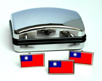 Taiwan Flag Cufflink and Tie Pin Set