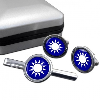 Taiwan Round Cufflink and Tie Clip Set