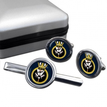 HM Tank Cleaning Vessels (Royal Navy) Round Cufflink and Tie Clip Set