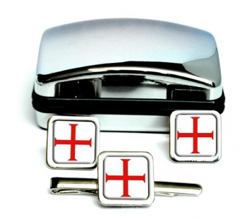 Knights Templar Cross Square Cufflink and Tie Clip Set