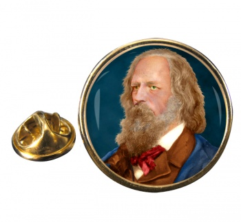 Alfred Lord Tennyson Round Pin Badge