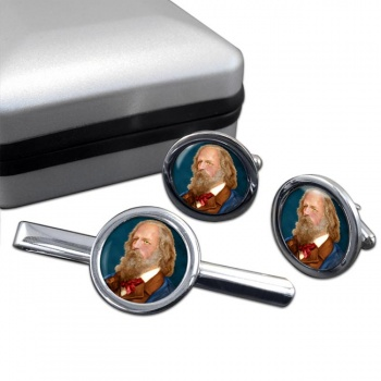 Alfred Lord Tennyson Round Cufflink and Tie Clip Set