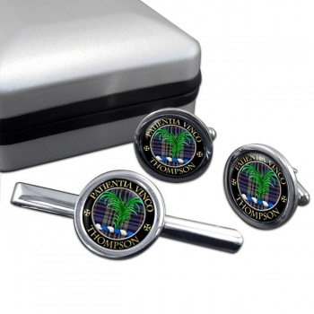 Thompson Scottish Clan Round Cufflink and Tie Clip Set