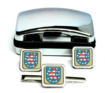 Thuringen (Germany) Square Cufflink and Tie Clip Set