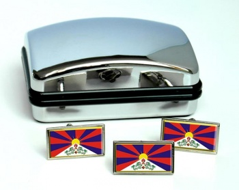 Tibet Flag Cufflink and Tie Pin Set