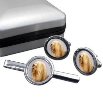 Tibetan Terrier  Cufflink and Tie Clip Set