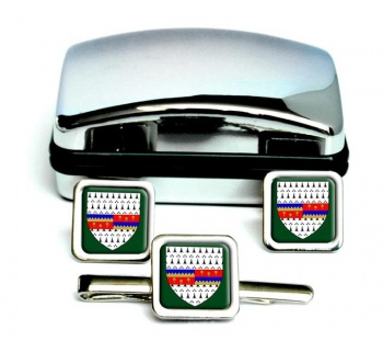 County Tipperary (Ireland) Square Cufflink and Tie Clip Set