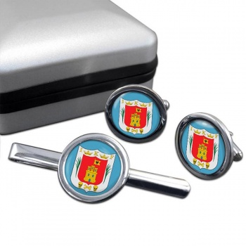 Tlaxcala (Mexico) Round Cufflink and Tie Clip Set