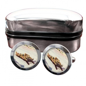 Tobogganing in Engadin 1906 Round Cufflinks