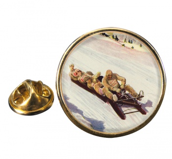 Tobogganing in Engadin 1906 Round Pin Badge