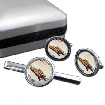 Tobogganing in Engadin 1906 Round Cufflink and Tie Clip Set