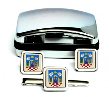 Tolna Square Cufflink and Tie Clip Set
