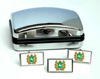 Tomsk Oblast Flag Cufflink and Tie Pin Set