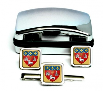 Toulouse (France) Square Cufflink and Tie Clip Set