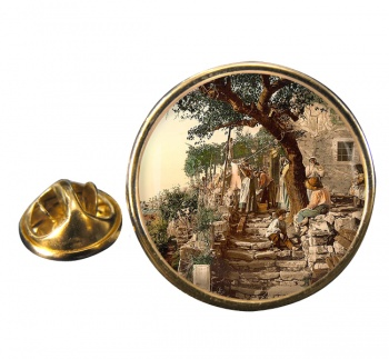 A Trieste Peasant Family Round Pin Badge
