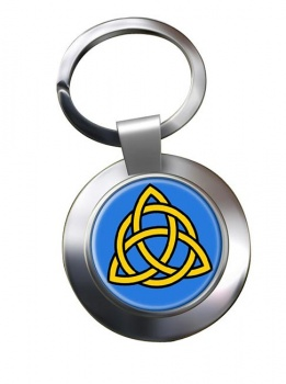 Trinity Knot Leather Chrome Key Ring