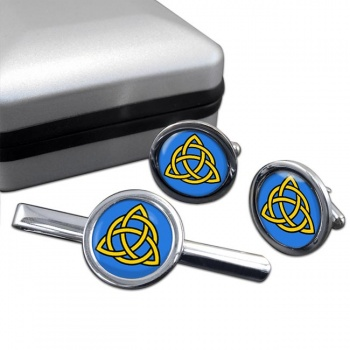 Trinity Knot Round Cufflink and Tie Bar Set