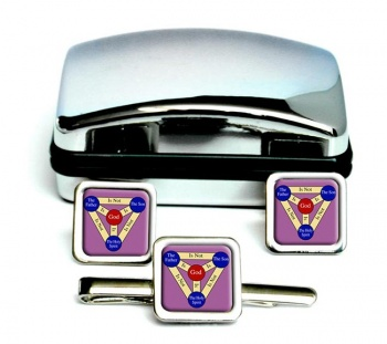 Shield of the Trinity  (Scutum Fidei)  Square Cufflink and Tie Clip Set