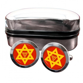 Triple Tau Star of David Masonic Round Cufflinks