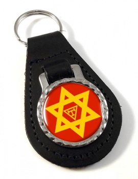 Triple Tau Star of David Masonic Leather Key Fob