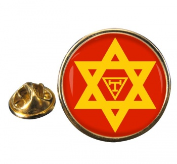 Triple Tau Star of David Masonic Round Pin Badge