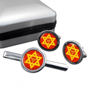 Triple Tau Star of David Masonic Round Cufflink and Tie Clip Set