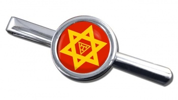 Triple Tau Star of David Masonic Round Tie Clip