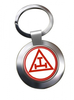Triple Tau Star of David Masonic Chrome Key Ring