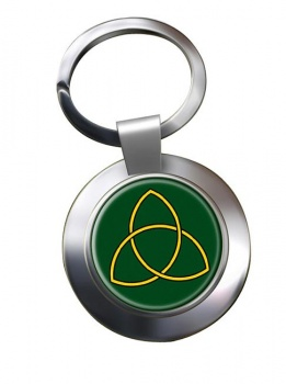 Triquetra Leather Chrome Key Ring