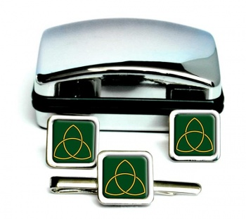 Triquetra Square Cufflink and Tie Clip Set