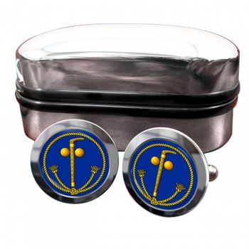 Tubal Cain (Two Ball and Cane) Masonic Round Cufflinks