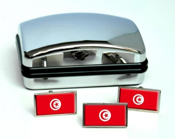 Tunisia Flag Cufflink and Tie Pin Set